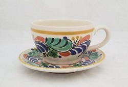 mexican ceramic mexican potttery folk art talavera Gorky Gonzalez Cup & Saucer<br>Blue-Green Colors