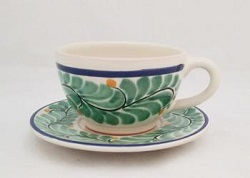 Mexican pottery mexican ceramic folk art Cup & Saucer<br>Green-Blue Colors