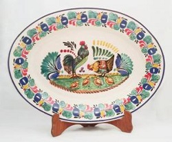 Mexican pottery mexican ceramic folk art Oval Platter<br>Rooster Family<br>Green-Blue Colors