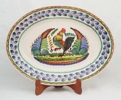 Mexican pottery mexican ceramic folk art Oval Platter<br>Rooster <br>Blue-Green Colors