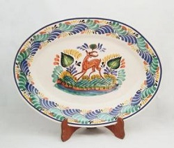 Mexican pottery mexican ceramic folk art Oval Platter<br>Deer<br>Blue-Green Colors