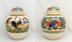 Mexican pottery mexican ceramic folk art Large Gto<br>Rooster Pattern<br>16.5 in H