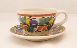 mexican ceramic mexican potttery folk art talavera Gorky Gonzalez Cup & Saucer<br>Traditional Colors
