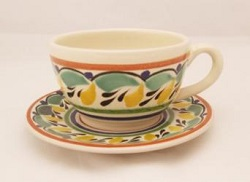mexican pottery mexican ceramic folk art talavera Cup & Saucer<br>Green-Yellow Colors
