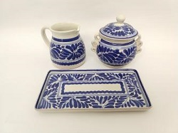 mexican ceramic mexican potttery folk art talavera Gorky Gonzalez Sugar and Cream Set<br>Blue and White