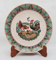 mexican ceramic mexican potttery folk art talavera Gorky Gonzalez Round Platter<br>Family Roosters