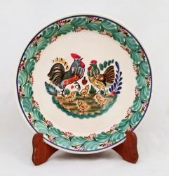 Gorky Gonzalez / Gorky Pottery Round Platter<br>Love Chickens<br>Green Colors