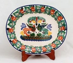 Mexican pottery mexican ceramic folk art Semi Oval Platter<br>Love Birds<br>Traditional Colors