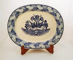 Mexican pottery mexican ceramic folk art Semi Oval Platter<br>Love Birds<br>Blue and White