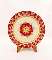 mexican pottery mexican ceramic folk art talavera Larde Dinner Plate<br>Red Flower
