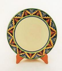 Gorky Gonzalez / GorkyPottery Larde Dinner Plate<br>Blue-Yellow Border