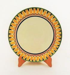 mexican ceramic mexican potttery folk art talavera Gorky Gonzalez Larde Dinner Plate<br>Yellow-Black Border