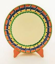 mexican ceramic mexican potttery folk art talavera Gorky Gonzalez Larde Dinner Plate<br>Blue-Terracota-Yellow Border