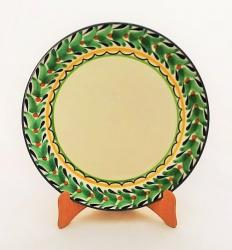 mexican ceramic mexican potttery folk art talavera Gorky Gonzalez Larde Dinner Plate<br>Green-Black Border