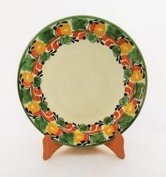 mexican ceramic mexican potttery folk art talavera Gorky Gonzalez Larde Dinner Plate<br>Traditional Border<br>Green-Yellow-Border