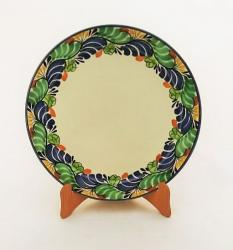 Mexican pottery mexican ceramic folk art Larde Dinner Plate<br>Blue-Green Border