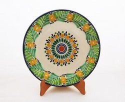 mexican ceramic mexican potttery folk art talavera Gorky Gonzalez Large Dinner Plate 12 in D<br>Flower<br>Green Colors