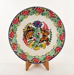 mexican pottery mexican ceramic folk art talavera Large Dinner Plate 12 in D<br>Butterfly<br>Green-Red Colors