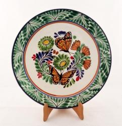 mexican pottery mexican ceramic folk art talavera Large Dinner Plate 12 in D<br>Butterfly<br>Green Colors