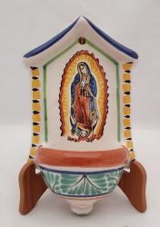 mexican ceramic mexican potttery folk art talavera Gorky Gonzalez Holy water fountain<br>Virgin Gpe<br>Green-Yellow Colors