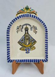 mexican ceramic mexican potttery folk art talavera Gorky Gonzalez AltarPiece<br>Virgin San Juan<br>Blue-Yellow Colors