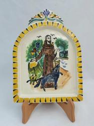 Gorky Gonzalez / GorkyPottery AltarPiece<br>St. Francis<br>Yellow-Terracota Colors