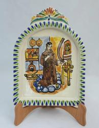 Mexican pottery mexican ceramic folk art AltarPiece<br>St. Pascual<br>Blue-Terracota Colors