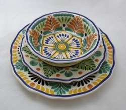 mexican pottery mexican ceramic folk art talavera Dish Set<br>3 pieces<br>Yellow-Terracota-Green