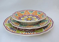mexican ceramic mexican potttery folk art talavera Gorky Gonzalez Dish Set<br>3 pieces<br>Orange-Green