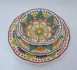 mexican pottery mexican ceramic folk art talavera Dish Set<br>3 pieces<br>Green-Orange