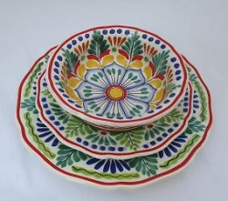 mexican pottery mexican ceramic folk art talavera Dish Set<br>3 pieces<br>Green-Blue
