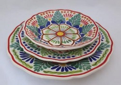 mexican pottery mexican ceramic folk art talavera Dish Set<br>3 pieces<br>Green-Blue-Terracota