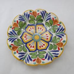 Mexican pottery mexican ceramic folk art Flower Snack Disj<br>Blue-Green
