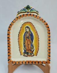 mexican ceramic mexican potttery folk art talavera Gorky Gonzalez AltarPiece<br>Virgin Gpe<br>Terracota-Blue Colors