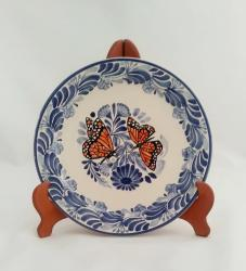 mexican pottery mexican ceramic folk art talavera Dinner Plate 10 in D<br>Monarca Butterfly<br>Blue-Orange