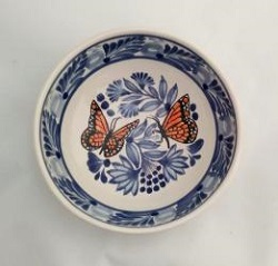 Mexican pottery mexican ceramic folk art Cereal Bowl<br>Monarca Butterfly<br>Blue-Orange