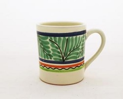 Mexican pottery mexican ceramic folk art Coffe Mug<br>14 Oz<br>Gree-Blue Colors