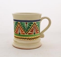 Mexican pottery mexican ceramic folk art Coffe Mug Traditional<br>14 Oz<br>Terracota-Green