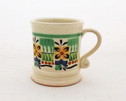 mexican ceramic mexican potttery folk art talavera Gorky Gonzalez Coffe Mug Traditional<br>14 Oz<br>Green-Yellow Colors