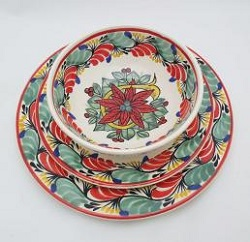mexican pottery mexican ceramic folk art talavera Dish Set Pointsettia<br>3 pieces<br>Christmas Colors