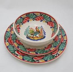 mexican pottery mexican ceramic folk art talavera Dish Set Rooster<br>3 pieces<br>Green-Red