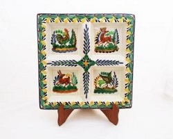 mexican pottery mexican ceramic folk art talavera Square Tray<br>Asst Animals<br>Green-Yellow Colors