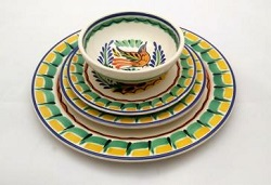 Mexican pottery mexican ceramic folk art Dish Set<br>Yellow-Green