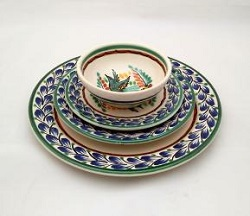 Mexican pottery mexican ceramic folk art Dish Set Bird<br>Blue-Green