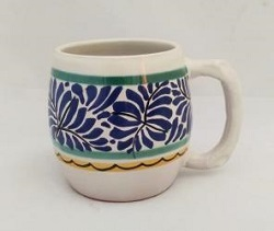 mexican pottery mexican ceramic folk art talavera Beer Mug<br>Blue Colors