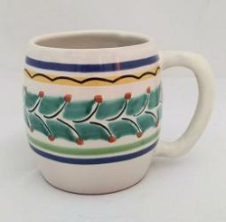 mexican pottery mexican ceramic folk art talavera Beer Mug<br>Green-Blue Colors