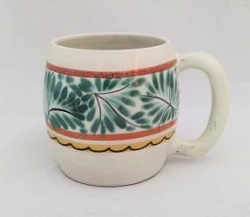 mexican pottery mexican ceramic folk art talavera Beer Mug<br>Green-Terracota Colors