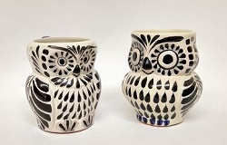 mexican pottery mexican ceramic folk art talavera Owl Coffe Mug<br>Perfect Couple<br>Black