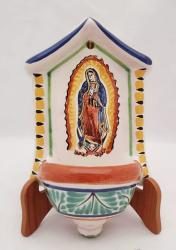 mexican ceramic mexican potttery folk art talavera Gorky Gonzalez Holy Water Foutain<br>Virgin Gpe