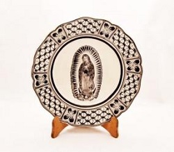 Mexican pottery mexican ceramic folk art Flower Plate<br>Virgin Gpe